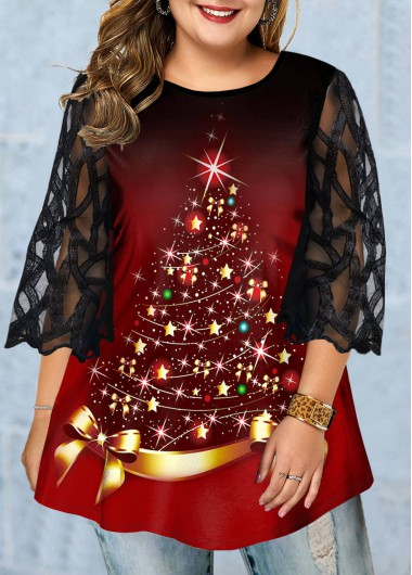 Christmas Women'S Red Tree Print Plus Size Holiday T Shirt Xmas Mesh Panel Three Quarter Sleeve Tunic Casual Top By Rosewe - 3X
