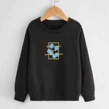 Sweatshirt mit Blumen und Buchstaben Grafik
