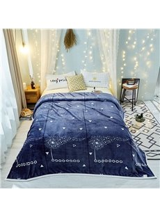 Flying Petal Series-Blue Soft Good Quality Flannel Blanket