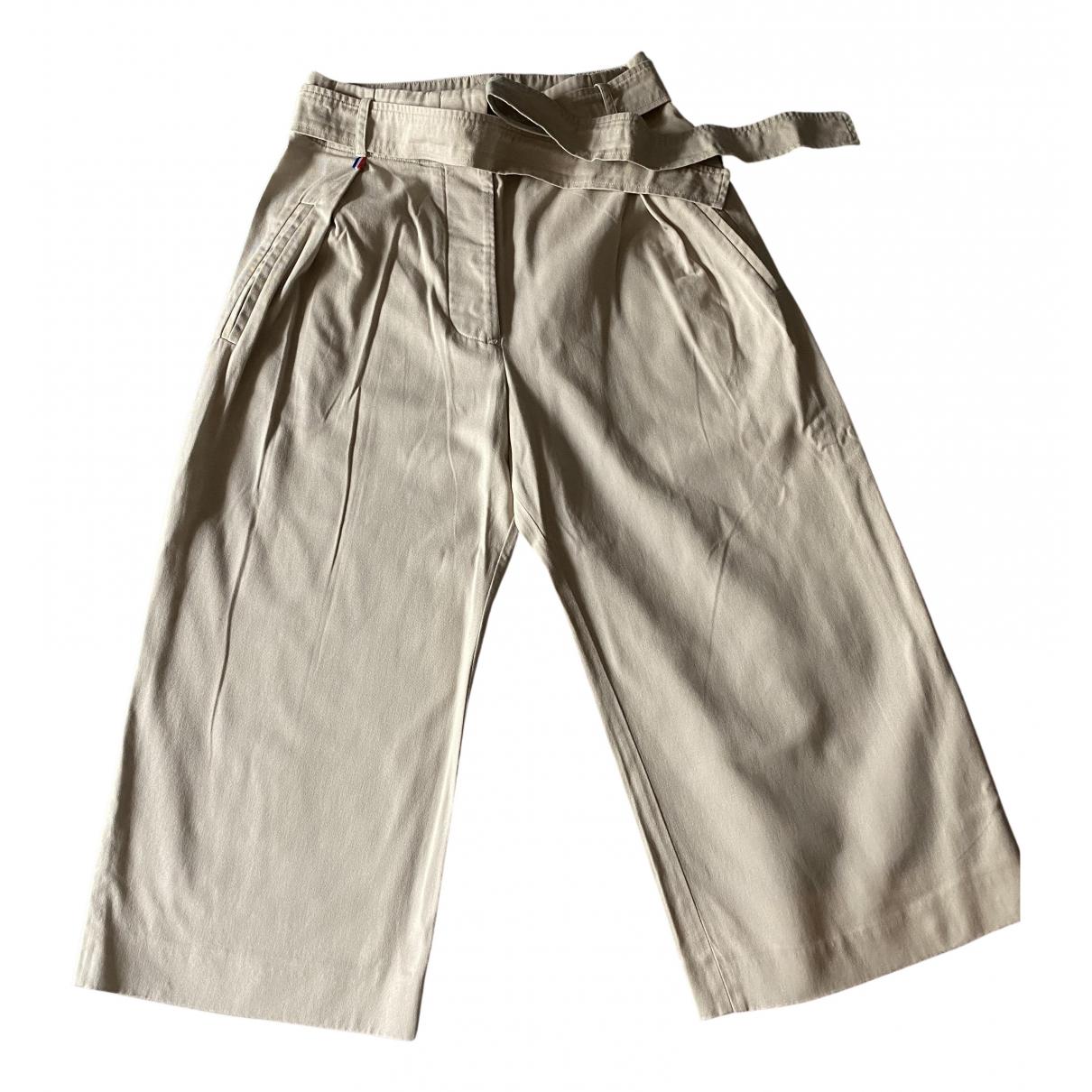 Autre Marque \N Beige Cotton Trousers for Women 38 FR