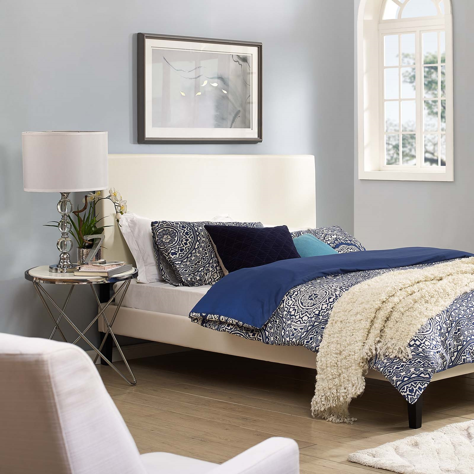 Taylor King and California King Upholstered Faux Leather Headboard in White