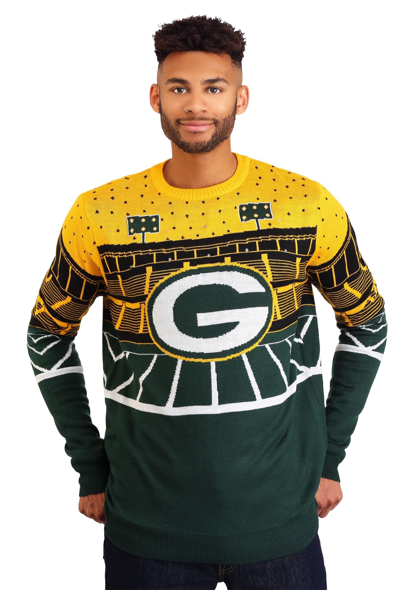 Green Bay Packers Light Up Bluetooth Mens Ugly Christmas Sweater
