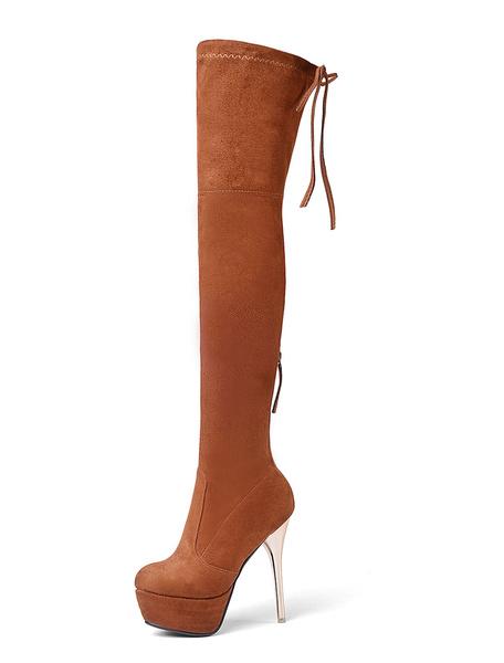 Milanoo Platform Thigh High Boots Womens Elastic Fabric Almond Toe Stiletto Heel Over The Knee Boots