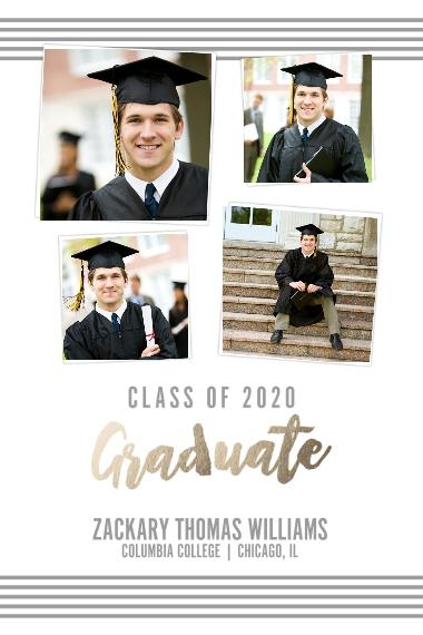 Graduation 20x30 Poster(s), Board, Home Décor -Collegiate Stripes Graduate