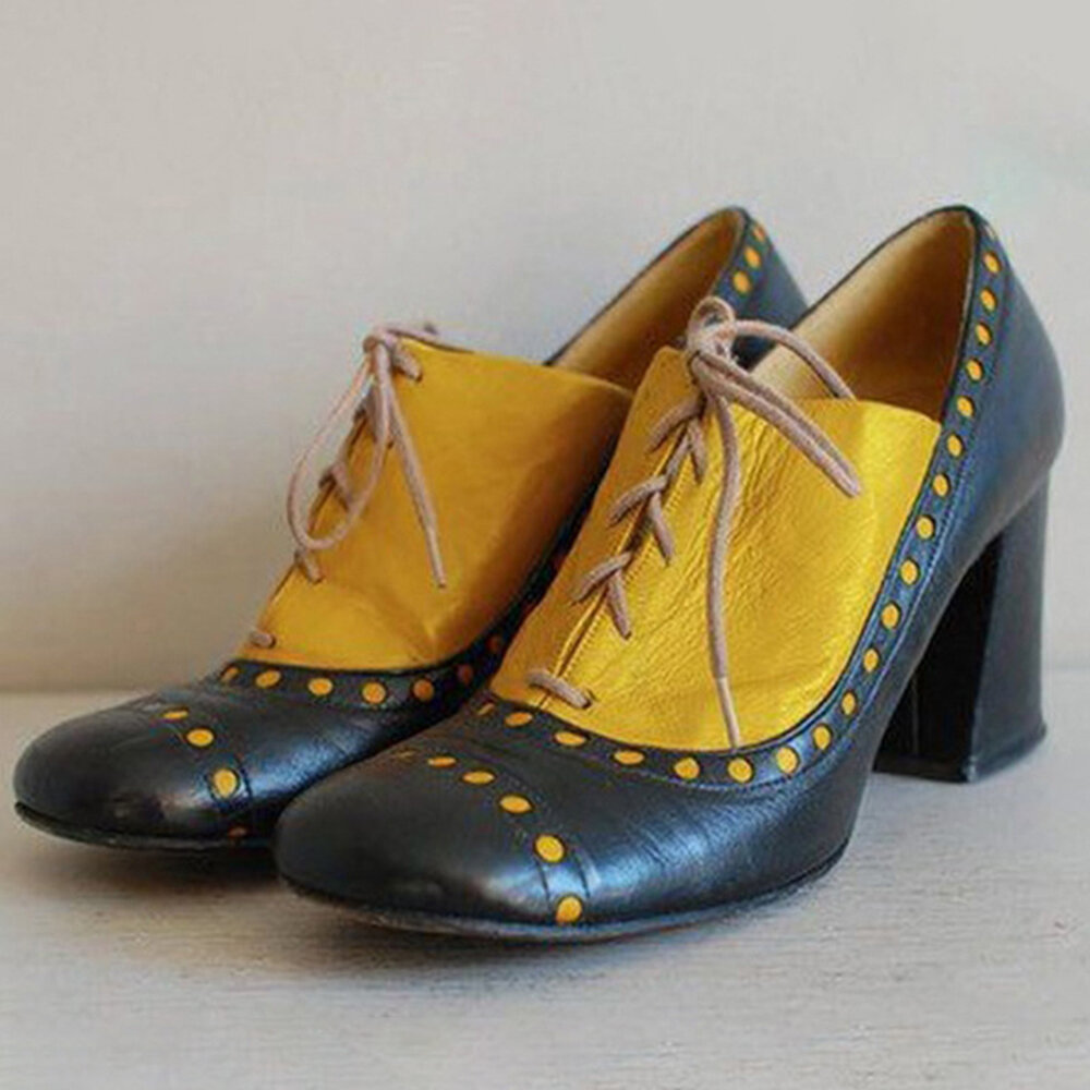 Large Size Women Retro Splicing Lace Up Chunky Heel Single Shoes
