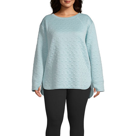 St. John's Bay Active-Plus Womens Round Neck Long Sleeve Tunic Top, 3x , Blue
