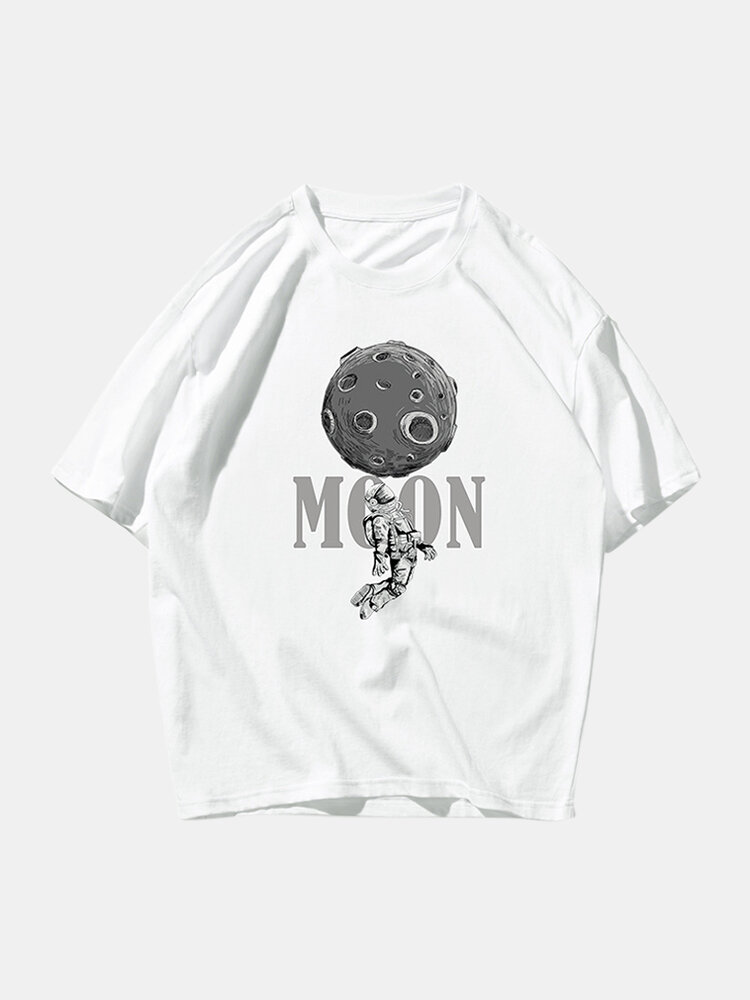 Mens Astronaut Graphic Printed Round Neck Loose Short Sleeve T-shirt