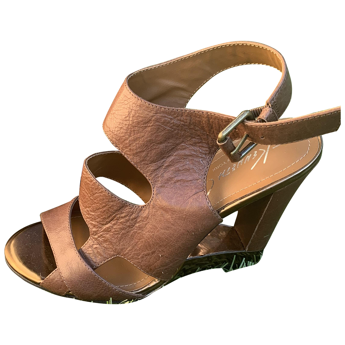 Kenneth Cole N Brown Leather Sandals for Women 38 IT