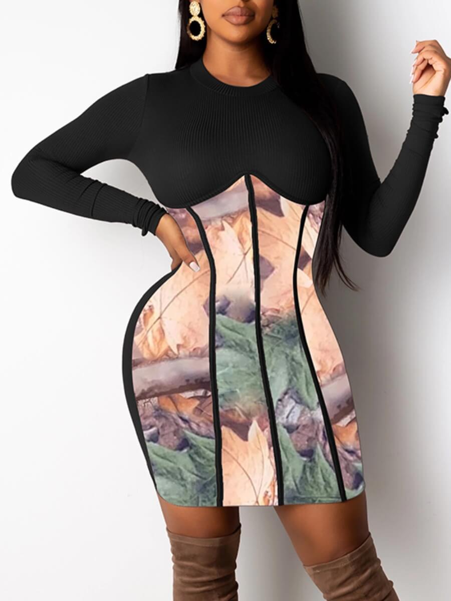 LW Lovely Street O Neck Print Patchwork Black Knee Length A Line Dress