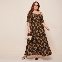 Schulterfreies Maxi Kleid mit Blumen Muster