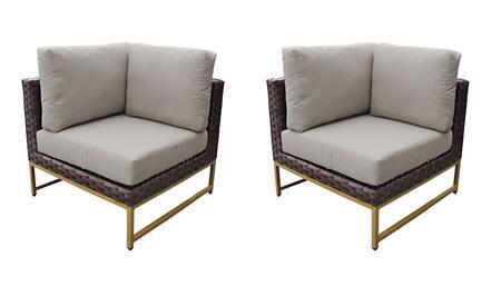 TKC049b-CS-DB-GLD-BEIGE Barcelona Corner Chair 2 Per Box - 2 Sets of Beige