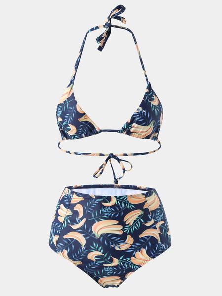 Yoins Navy Random Fruit Print Halter Bikini Set
