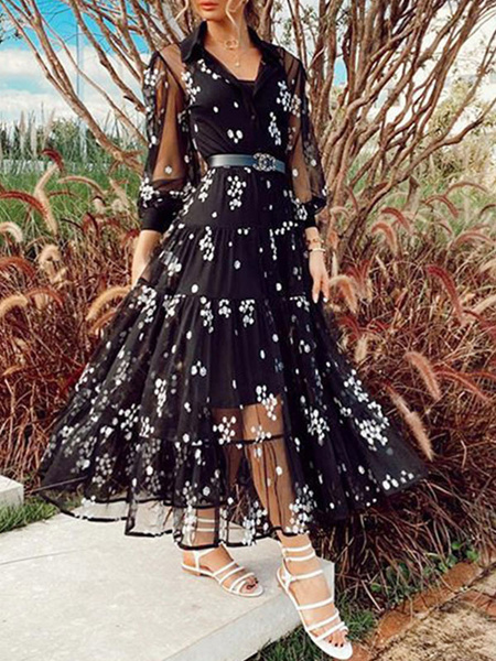 Milanoo Black Maxi Dresses Women Turndown Collar Long Sleeve Floral Print Tulle Long Dress