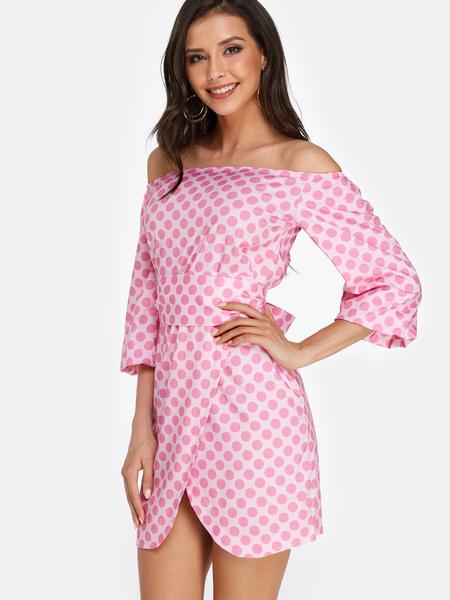Yoins Pink Self-tie Polka Dot Off The Shoulder Lantern Sleeves Mini Dress