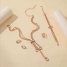 5pcs Rhinestone Decor Jewelry Set