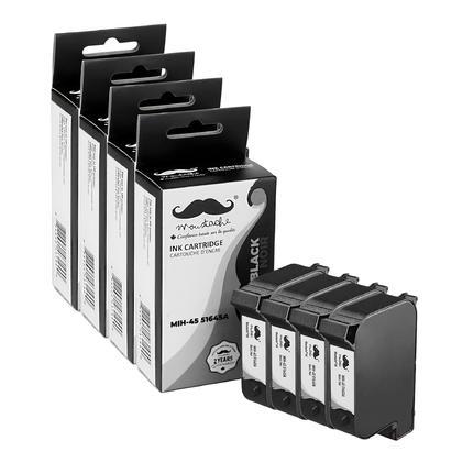 Compatible HP 45 51645A/D Black Ink Cartridge - Moustache - 4/Pack