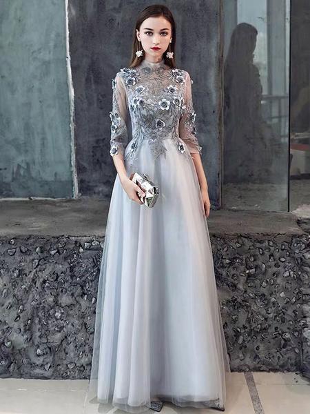Milanoo Ormal Dinner Dress 2020 Flower Lace Applique Half Sleeve Floor Length Social Evening Party Dresses