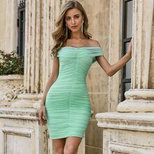 Sesidy Schulterfreies Bandage Kleid mit Ruesche und Netzstoff