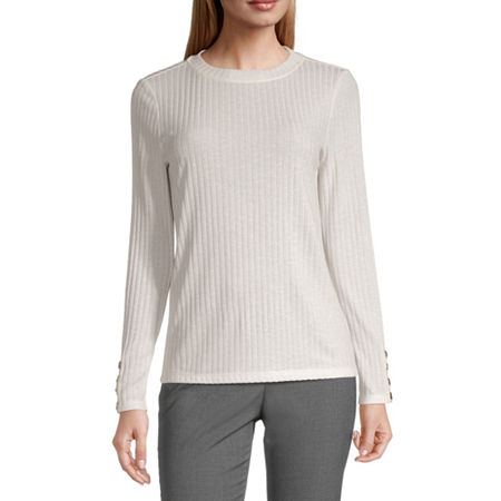 Worthington-Womens Crew Neck Long Sleeve T-Shirt, Large , White