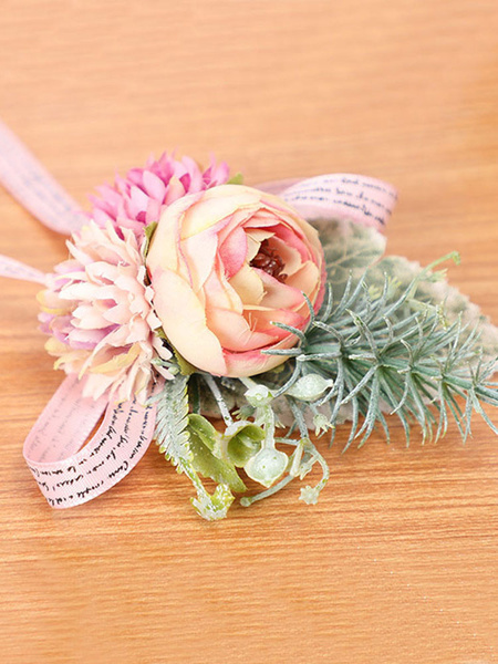 Milanoo Flowers For Wedding Pretty Poly/Cotton Blend Wrist Corsage