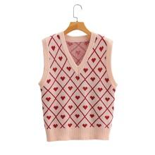 Pullover Weste mit Herzen & Argyle Muster