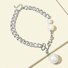Collar de cadena colgante de perla artificial