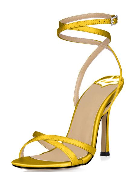 Milanoo Sandalias cruzadas de seda sintetica de estilo elegante