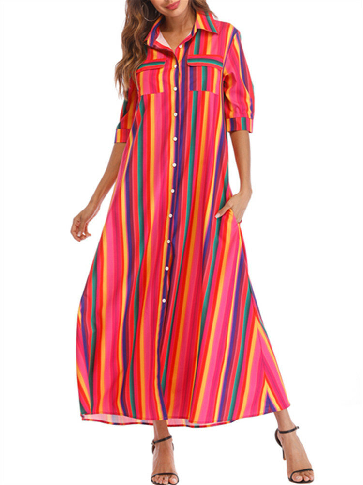 Front Button Fly Striped Pocket Casual Dresses