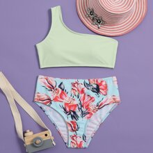 Girls Floral One Shoulder Bikini Swimsuit