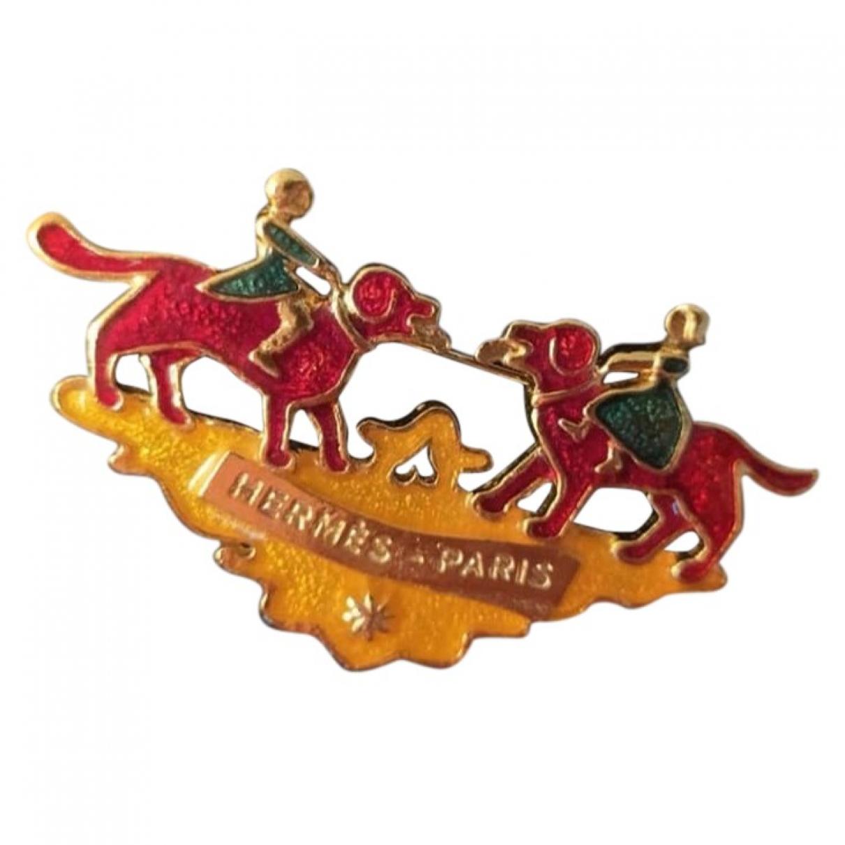 Hermes - Broche   pour femme en plaque or - multicolore