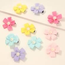 10 Stuecke Haarklammer mit Blumen Muster