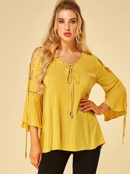 YOINS Yellow Lace-up Design Round Neck Bell Sleeves Blouse