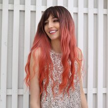 Nature Ombre Long Curly Wig With Bangs