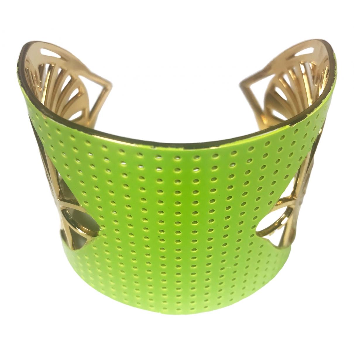 Non Signe / Unsigned Manchette Armband in  Gelb Vergoldet