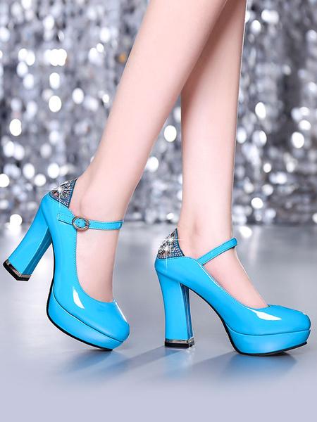 Milanoo Classic Lolita Pump Rhinestone Cut Out Ankle Strap Patent PU Platform Chunky Heel Lolita Shoes
