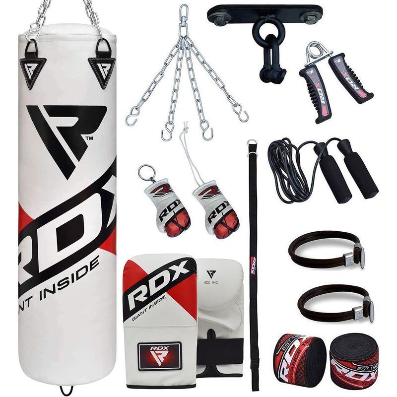 RDX F10 Boxsack 4ft Gefuellt mit Mitts Set Rot/Weiss/Schwarz