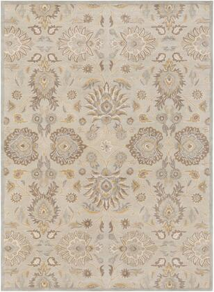 Caesar CAE-1192 6' x 9' Rectangle Traditional Rug in Light Grey  Khaki  Camel  Cream  Medium