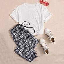 Figure And Letter Graphic Tee & Plaid Pants