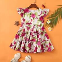 Toddler Girls Allover Floral Ruffle Hem Dress