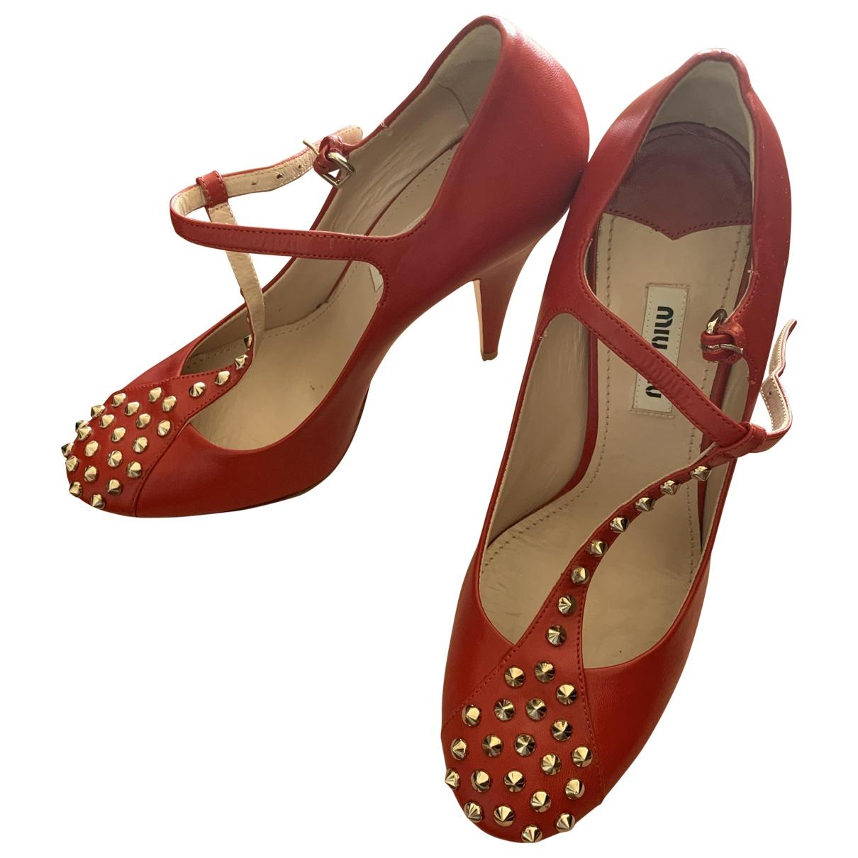 Miu Miu \N Red Leather Heels for Women 37 IT