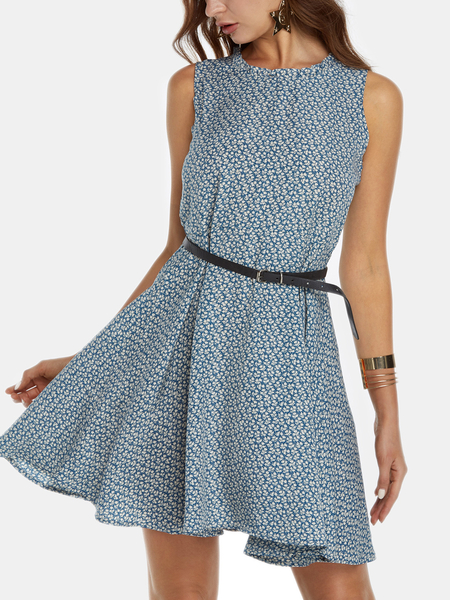 Yoins Random Calico Print Cut Out Round Neck Sleeveless Mini Dress