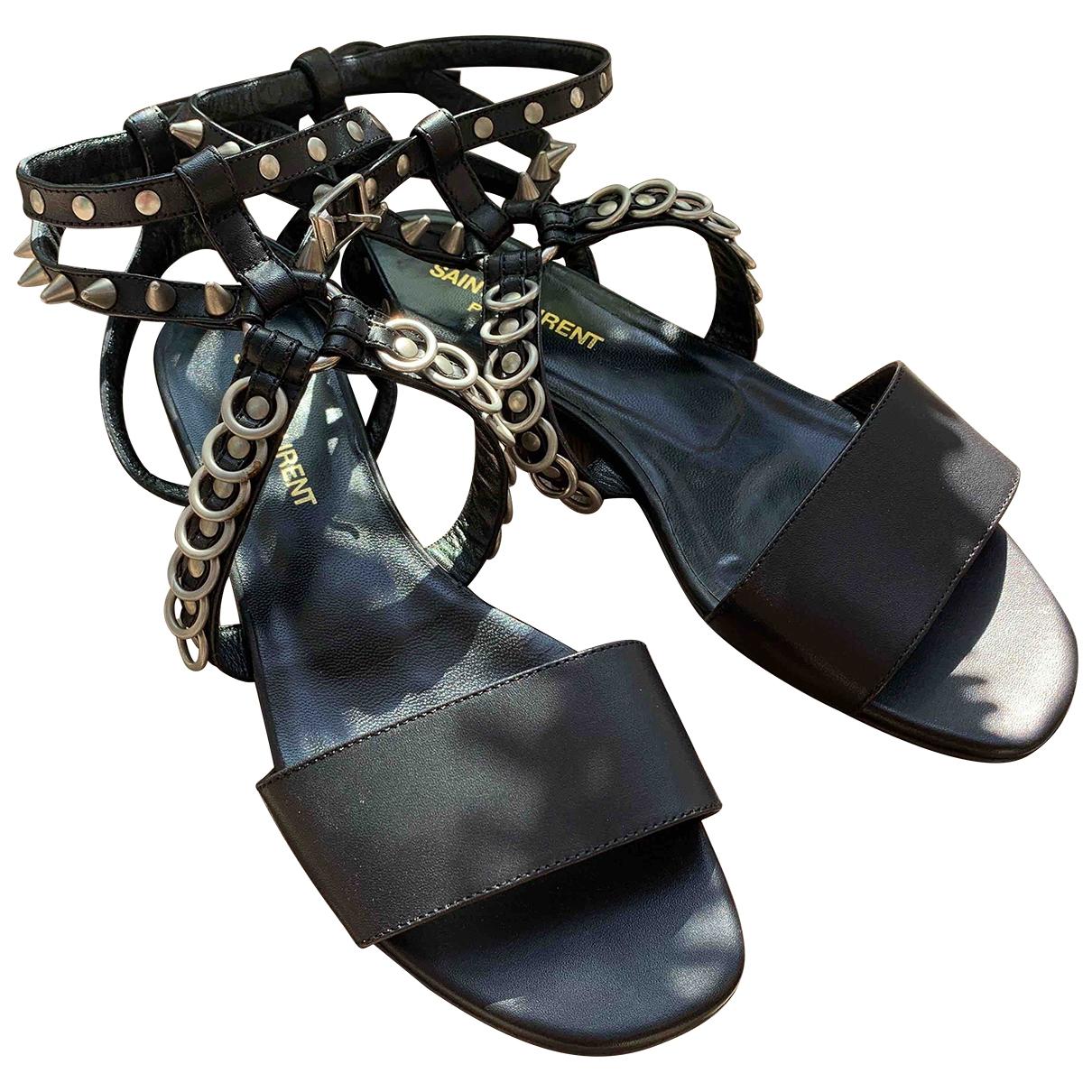 Saint Laurent \N Black Leather Sandals for Women 35.5 EU