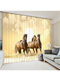 Three Brown Running Horses Polyester Animal Scenery 2 Panels 3D Shading Curtain