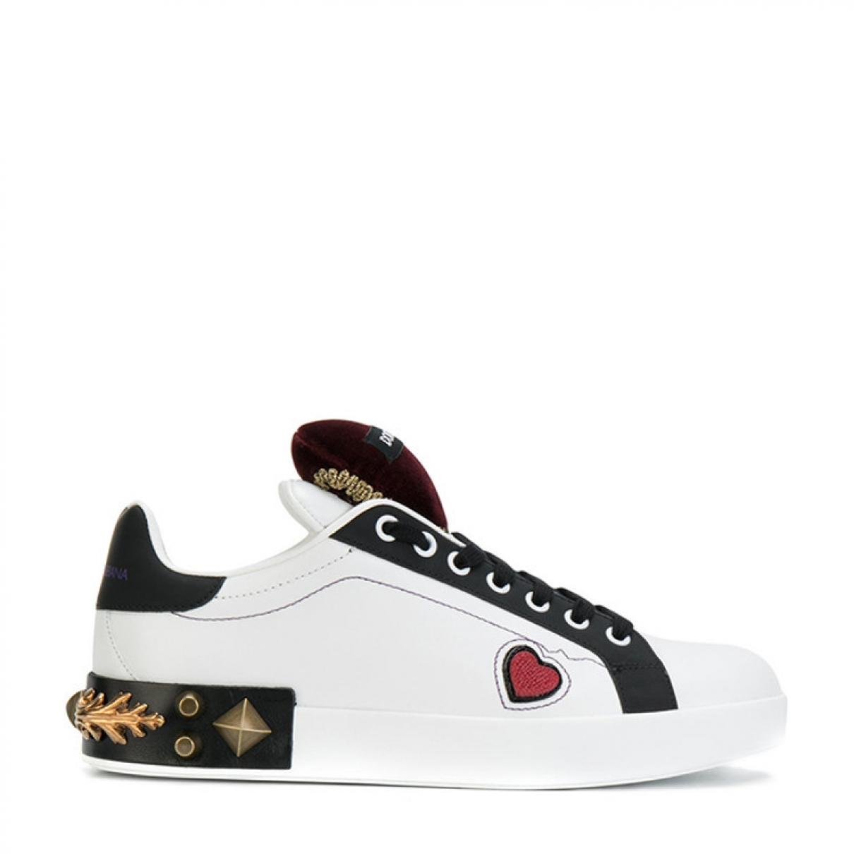 Dolce & Gabbana - Baskets   pour femme en cuir - blanc