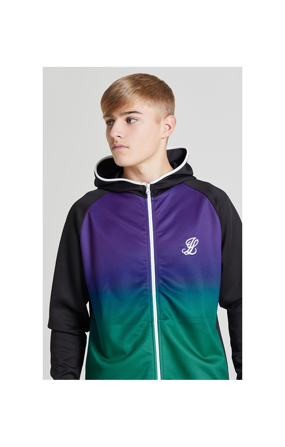 Illusive London Fade Athlete Hoodie  Black, Purple & Teal Green Kids Top Sizes: 9-10 YRS