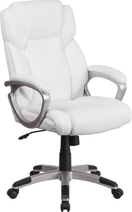GO-2236M-WH-GG Mid-Back White Leather Executive Swivel Office Chair with Padded