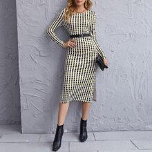 Kleid mit M-Schlitz, Karo Muster ohne Guertel