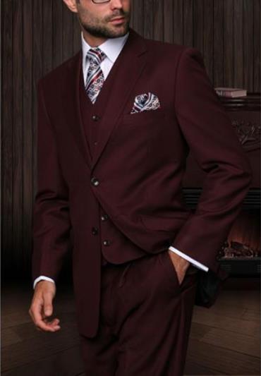 Statement Mens Burgundy 3 Piece 2 Button Italian Designer Suit
