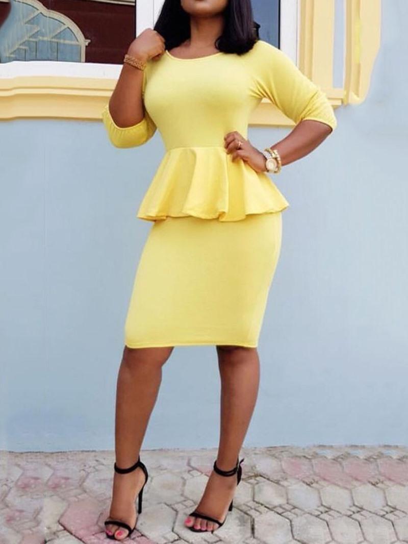 Ericdress Office Lady Three-Quarter Sleeve Stringy Selvedge Plain Pencil Dress