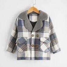 Toddler Boys Lapel Collar Plaid Plush Lined Pea Coat